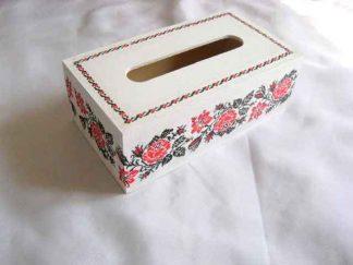 Cutie de lemn cu design de trandafiri rosii, cutie cu motive populare 29499
