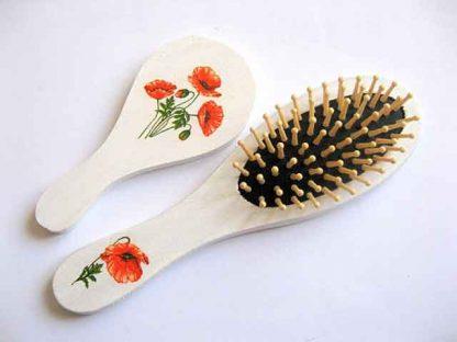 Design maci rosii, set cadou femeie perie si oglinda 29409