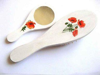 Design maci rosii, set cadou femeie perie si oglinda 29409 poza a 2a