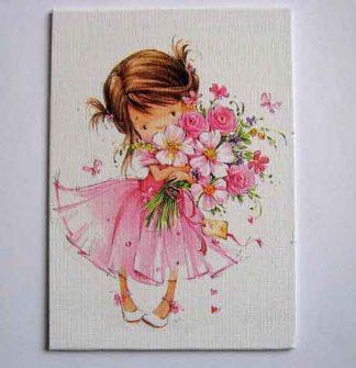 Fetita cu rochie roz si cu un buchet de flori, tablou panza camera copii 28077