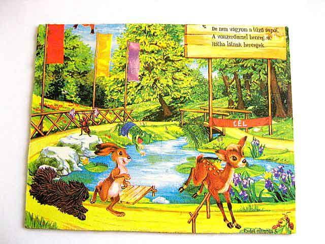 Intrecere sportiva intre animale, tablou lemn limba maghiara 16311