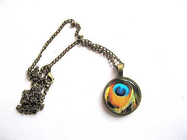 Pandantiv cu design de pene de paun, bijuterie cadou femei 29616