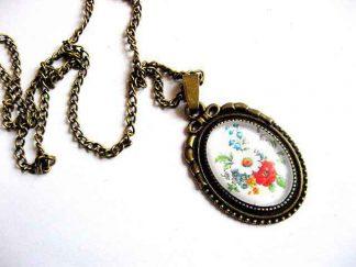 Pandantiv cu model floral, colier si pandantiv bronz 29454