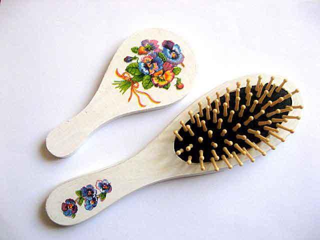 Perie si oglinda femei, design flori campenesti multicolore 29407