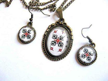 Set bijuterii bronz, colier, pandantiv si cercei cu motiv traditional 29426