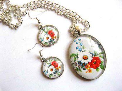 Set bijuterii cu pandantiv oval, bijuterii cu model floral 29475
