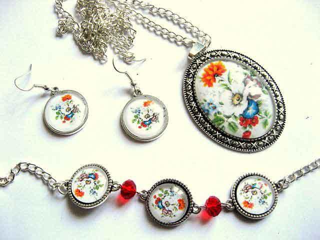 Set bijuterii femei model floral, set cercei, colier cu pandantiv si bratara 29517