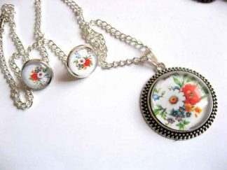 Set bijuterii femei model floral, set colier, pandantiv si cercei 29452