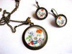 Set bijuterii flori culori pastelate, set colier, pandantiv si cercei 29455
