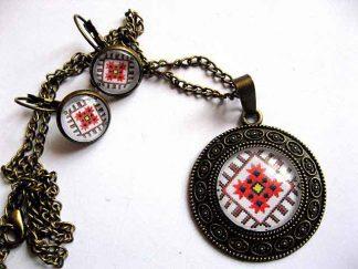 Set bijuterii maci stilizati, set motive traditionale romanesti 29470