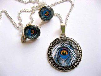 Set bijuterii pene de paun, colier, pandantiv si cercei 29402