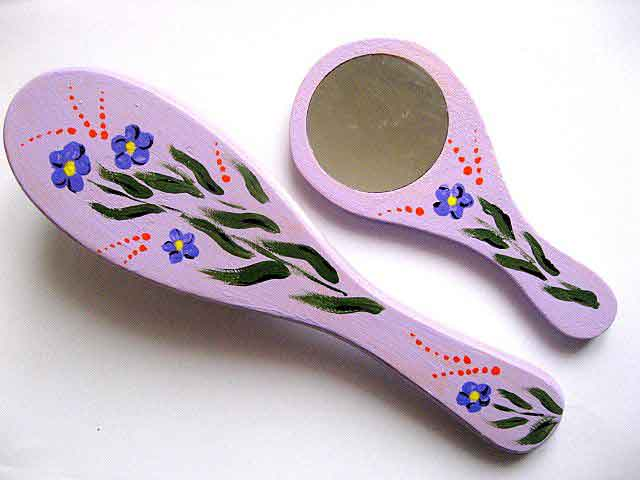 Set cadou femei, set perie de par si oglinda cu model de albastrele 28045