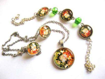 Set colier, pandantiv, cercei, bratara reglabila, set bijuterii femei 29479