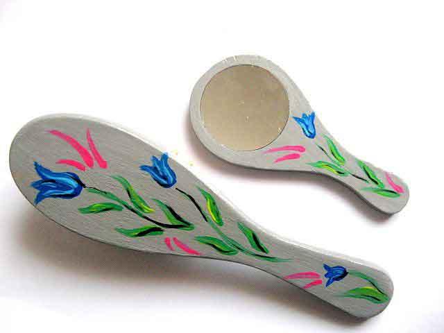 Set cu design de lalele albastre, set oglinda si perie par 28049