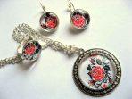 Set cu motiv traditional, set bijuterii cu flori stilizate 29516