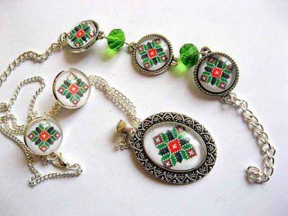 Set de bijuterii cu model traditional, cadou femei set bijuterii 29480
