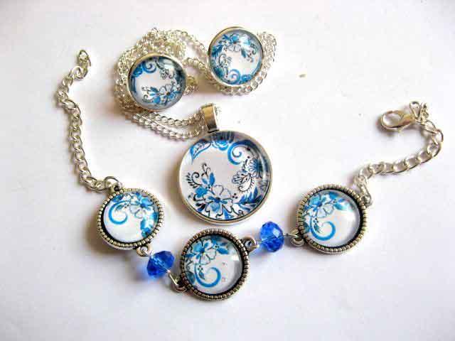 Set model flori stilizate albastru deschis, set bijuterii femei 29478