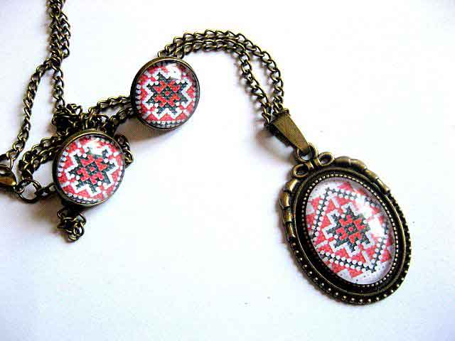Set motiv traditional modele geometrice, set bijuterii bronz 29428