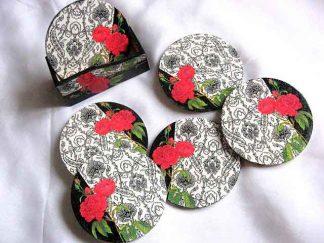 Suporturi cani si pahare, suporturi cu model de trandafiri rosii 27704