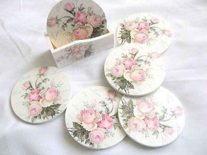 Suporturi cu model de buchet de trandafiri roz, suporturi pahare si cani 28478