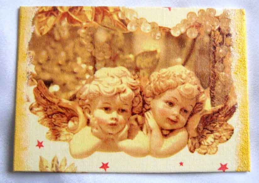 Tablou cu doi ingeri pe culoarea galbena, tablou pe panza 28104