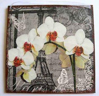 Tablou cu orhidee si alte ornamente stilizate, tablou de lemn 22382