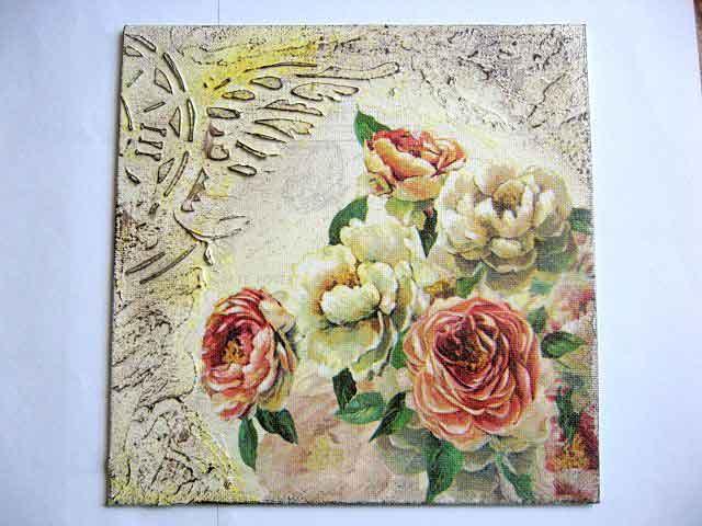Tablou cu trandafiri grena si galbeni, tablou pe panza cu model floral 29396