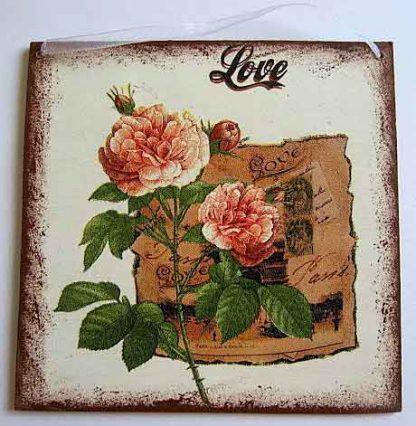Tablou design trandafir japonez si cuvantul dragoste, tablou de lemn 22380