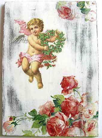 Tablou inger cu coroana de flori si buchet de trandafiri, tablou pe lemn 22774