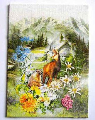 Tablou peisaj montan, capra neagra si marmota, peisaj feeric pe panza 28074