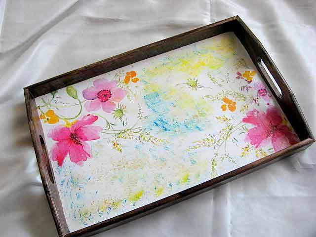 Tava servire masa, tava din lemn cu modele florale 21513