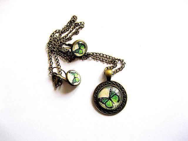 Bijuterie set cu fluture verde cu negru pe fundal galbui, bijuterie femei 29594