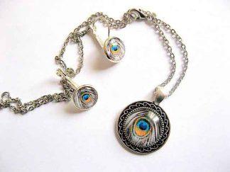 Bijuterii design pana paun, bijuterie set culori albastru, galben, negru si alb 29599