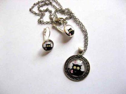 Bijuterii set pisica neagra cu ochi galbeni, set bijuterii femei 29595