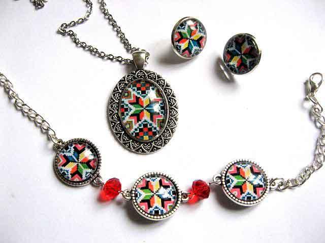 Bratara reglabila, colier cu pandantiv si cercei, set bijuterii femei 29677