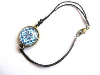 Bratara snur negru, bratara bronz si sticla cu motiv traditional 29668