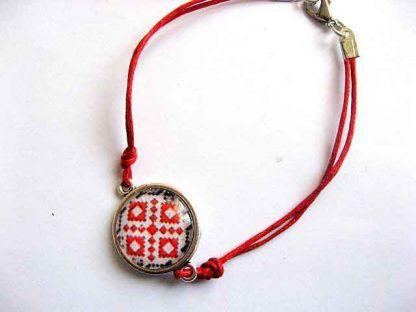 Bratara snur rosu cu motive traditionale autentice, bratara femei 29670
