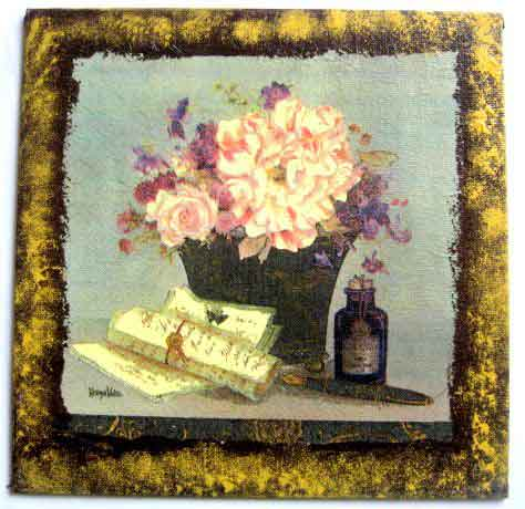 Buchet de flori in vaza, pergamente si o sticla, tablou pe panza 26046