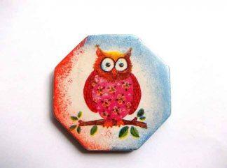 Bufnita rosu cu galben, decoratiune ipsos magnet frigider 32557