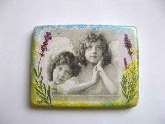 Decoratiune frigider, magnet frigider ipsos cu copii si flori mov 23512