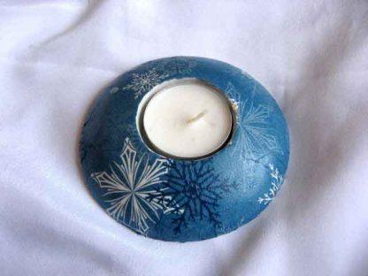 Decoratiune sarbatori de iarna, suport lumanare cu fulgi de nea stilizati 25796