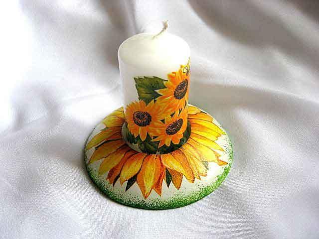 Design floarea soarelui, suport lumanare si lumanare cu floarea soarelui 23194