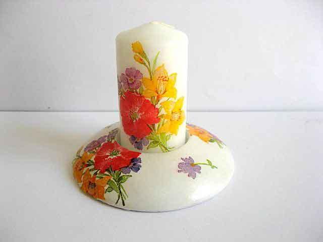 Flori campenesti in culori vii, suport lumanare ipsos si lumanare handmade 21797