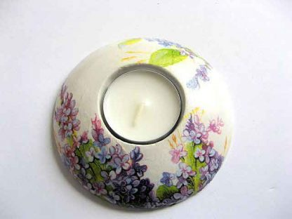 Flori mov si violet, suport lumanare ipsos si lumanare cu model floral 21716