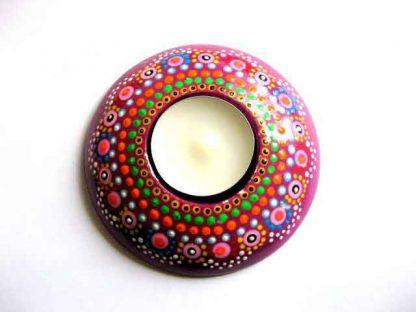 Flori stilizate si bulinute multicolore handmade, suport de lumanare si lumanare 29622