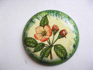 Magnet cu flori rosii, magnet rotund din ipsos pentru frigider 23639