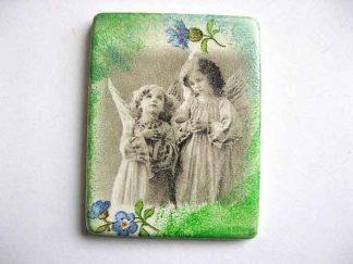 Magnet cu ingeri de copii si flori albastre, magnet pentru frigider 24387