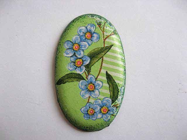 Magnet flori albastre pe fundal vernil, magnet frigider 23646