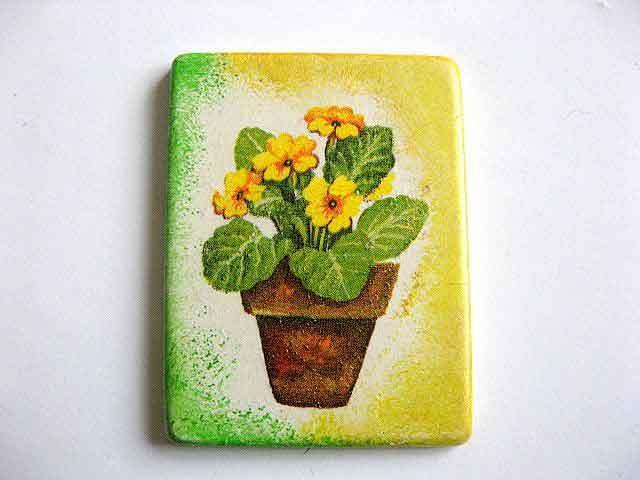 Magnet ghiveci cu flori galbene, magnet cu model floral 25231