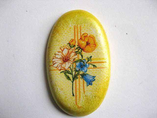 Magnet oval pentru frigider, magnet din ipsos cu model floral 24372